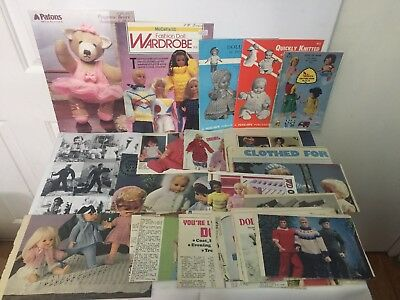 5 x Doll Clothes Knitting Patterns Booklets plus 20+ patterns cut from magazines