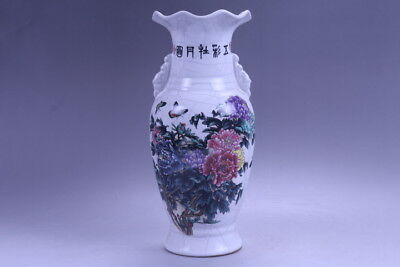 Exquisite chinese painting Lotus porcelain Vase qianlong mark xhp52