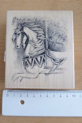 rubber stamp shabby chic, carousel horse wooden stamp
