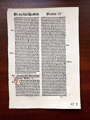 Antique Medieval 1494 Incunable Leaf Hand-Colored Letters Catholic