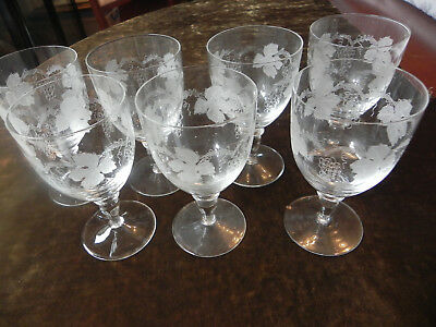 Vintage Crystal Wine Glasses x 7 Etched Grape Vine Design