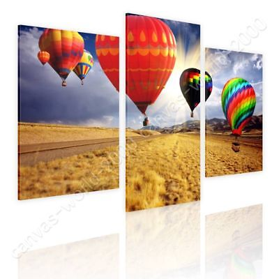 Hot Air Balloons by Split 3 Panels | Canvas (Rolled) | 3 Panels Wall art HD