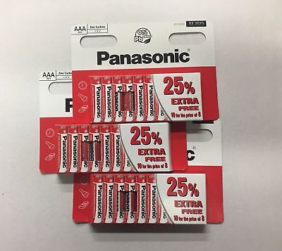 40 x AAA Genuine Panasonic  Zinc Carbon Batteries - New R6 1.5V Expiry 02/2020