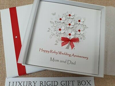 Personalised handmade ruby wedding anniversary card valentines 40th