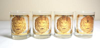 Set 4 VTG Georges Briard LION'S HEAD Gold Cocktail Old Fashioned Glasses Rare!