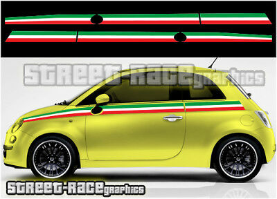 Fiat 500 side racing stripes 032A Italian flag decals vinyl graphics stickers