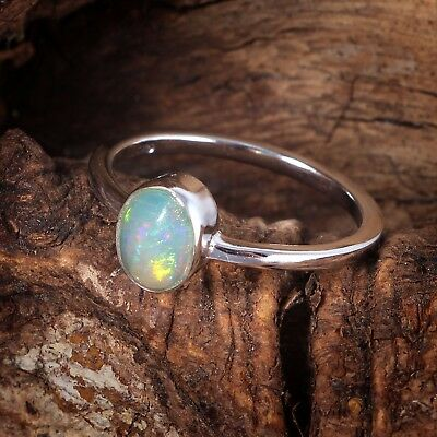 Prong Setting Natural Welo Fire Ethiopian Opal 925 Silver Ring Jewelry US 3-13