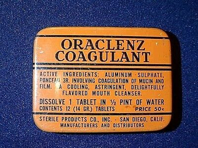 Antique Oraclenz Coagulant Dental Tin with Tablets Mouth Cleanser