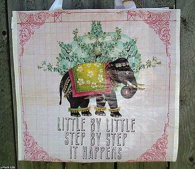 Large Happy Elephant Market Shopper Big Tote Papaya Art Bag Reusable Grocery