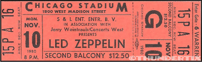 1  LED ZEPPELIN VINTAGE UNUSED FULL CONCERT TICKET 1980 Chicago IL red Laminated