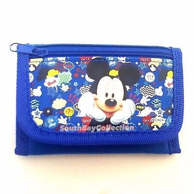 Disney Mickey Mouse Kids Blue Wallet for Toddlers Boys Daydreaming Pose
