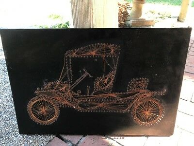 Vintage Copper Wire Art Antique Model TPicture Wall Hanging  wall decor
