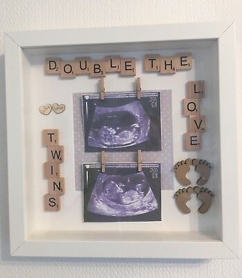Twin Baby Photo Frame Twins Gift Two scan Pictures Or One Photo