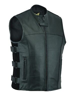 New Men SWAT black Tactical style biker Leather waistcoat vest UK Stock