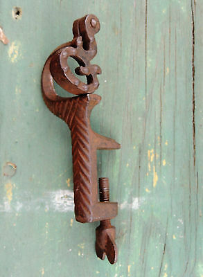rare Antique vtg Victorian Cast Iron Sewing SWING CLAMP Fabric Holder Tool c1900