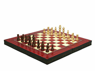 """""""RED ELEGANCE"""" DESIGN 3 in 1 BACKGAMMON & CHESS SET-BOARD GAME WOODEN 20"""""""
