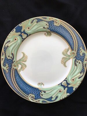 3 Fitz & Floyd Beautiful Green Dolphin Street Salad Plate Blue Green Dated 1981