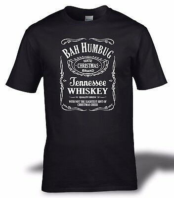 Bah Humbug Hate Christmas Scrooge Whiskey Style T-Shirt S-3Xl