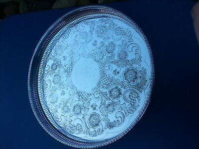 """Vintage viners of Sheffield round ALPHA chased tray 1"""" wall"""