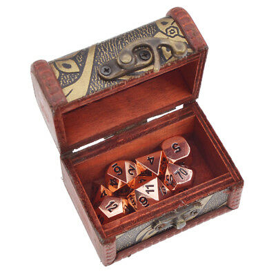1 Set Antique Gold Color- Solid Metal 7 Dice With Box Vintage Gift Game Party