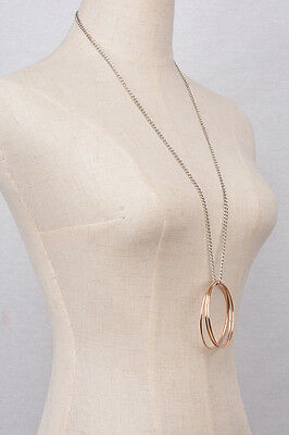 Big Hoop Huge Drop Long Chain Necklace Tube Color antique Handmade Cute Gifts