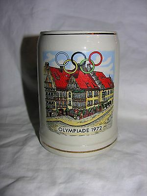 Highly Collectible Olympiade 1972 German Stoneware Beer Mug Stein