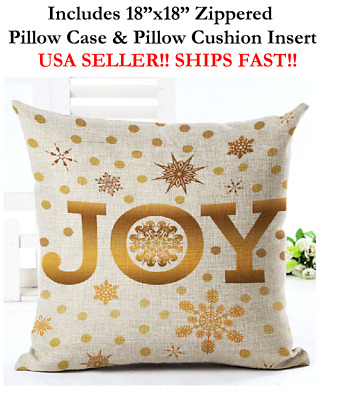"18x18 18"" GOLD JOY MERRY HAPPY CHRISTMAS Zippered Throw Pillow Case & Cushion"