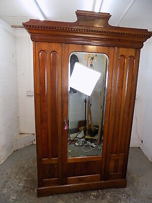 antique,victorian,walnut,wardrobe,bedroom,mirrored door,hanging,break down,shelf