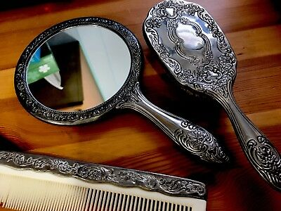 Vintage 3 Piece Silver Plated Dresser Vanity Set , Mirror/Comb/Brush