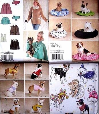 Simplicity Sewing Pattern Dog Pet Clothes Coat Costumes Bed Accessories You Pick