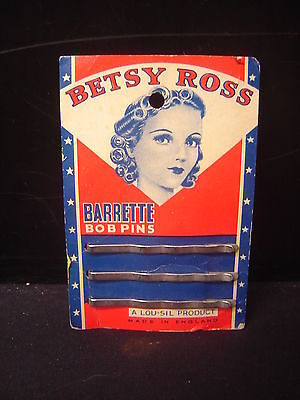 Vintage  Betsy Ross Barrette Bob Bobby  Pins 1920's  Hair styling on Card