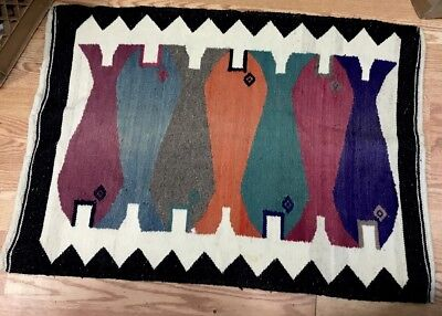 Hand Loomed Cotton Tribal Style Fish Rug