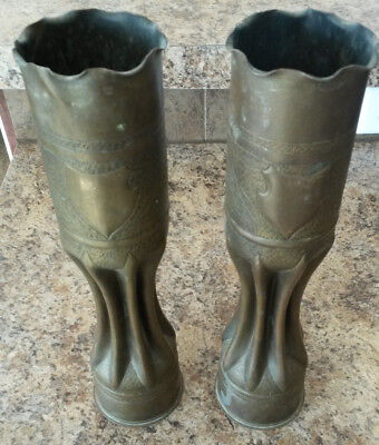 Pair of Matching WW1 Trench Art Shell Vase Millitary Artillery  Vintage Antique