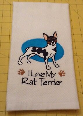 I Love My Rat Terrier Embroidered Williams Sonoma Kitchen Hand Towel, xtra lg