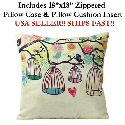 "18x18 18"" BIRD CAGE LOVE CAGELESS FLOWERS Zippered Throw Pillow Case & Cushion"