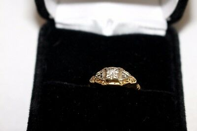Antique 14K Yellow & White Gold Art Deco Engagement Ring (.02 carat)