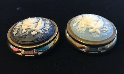 Pair of Vintage Victorian Pill Cases With Push Button Closures