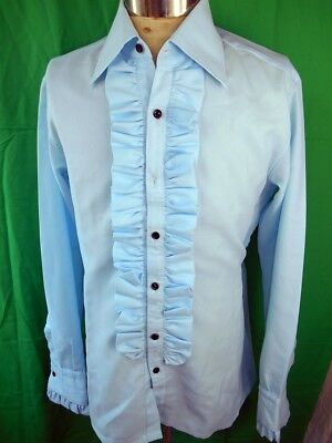 Vintage 70s Blue Polyester Ruffle Front Phillips Formal Costume Tuxedo Shirt 16