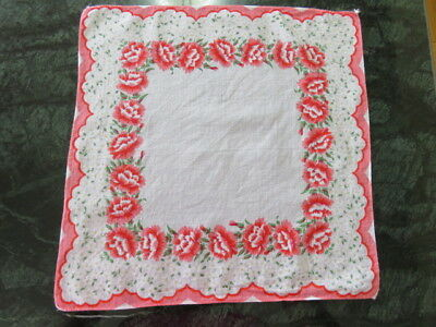 Vintage Hankie/handkerchief  - Foral -  Off White -  Pink Carnations Flower -