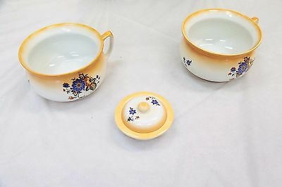 New Hall Potteries Bowls x 3 - Brown/White - Ceramic #12363