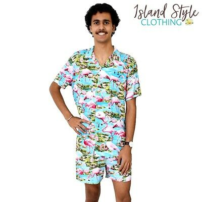 Turquoise Flamingo Loud Mens Hawaiian Shirt & Shorts Cabana
