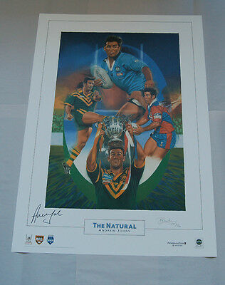 Andrew Johns Hand Signed The Natural Limited Edition Print Newcastle Knights