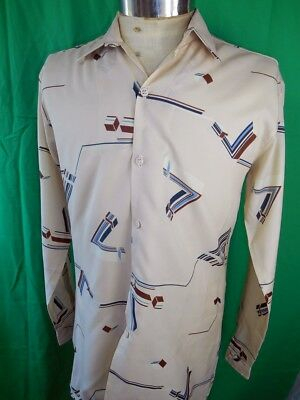 Vintage 70s Blue & Brown Patterned Polyester Pauls Melbourne Disco Party Shirt M