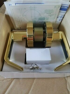 NEW Commercial Grade 2 Storeroom Door Lock Lever Handle Set brass bright brass