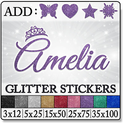 Glitter personalised name stars window wall mirror toy box decal sticker trasfer