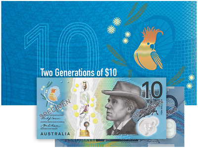 Australia Currency - 2017 - Two Generations of $10 Banknote Folder - Old & New