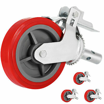"Scaffold Scaffolding Casters 8"" x 2"" Set of 4 Locking Polyurethane Wheel Swivel"