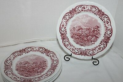 5~Vtg~W.H.GRINDLEY~England~Staffordshire~SCENES AFTER CONSTABLE~Red~SALAD PLATES