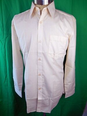 "Vintage 60s 70s Poly/Cotton Cream ""Menz"" Dress Shirt New/Old Stock Never Worn M"