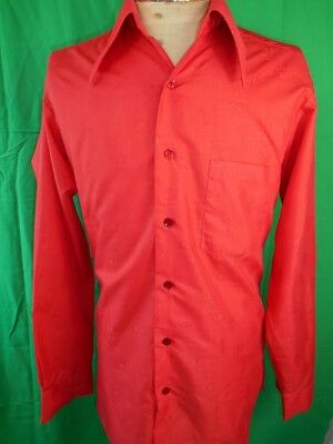 Amazing Vintage 1970s Bright Red Poly/Cotton Van Heusen Patterned Dress Shirt M